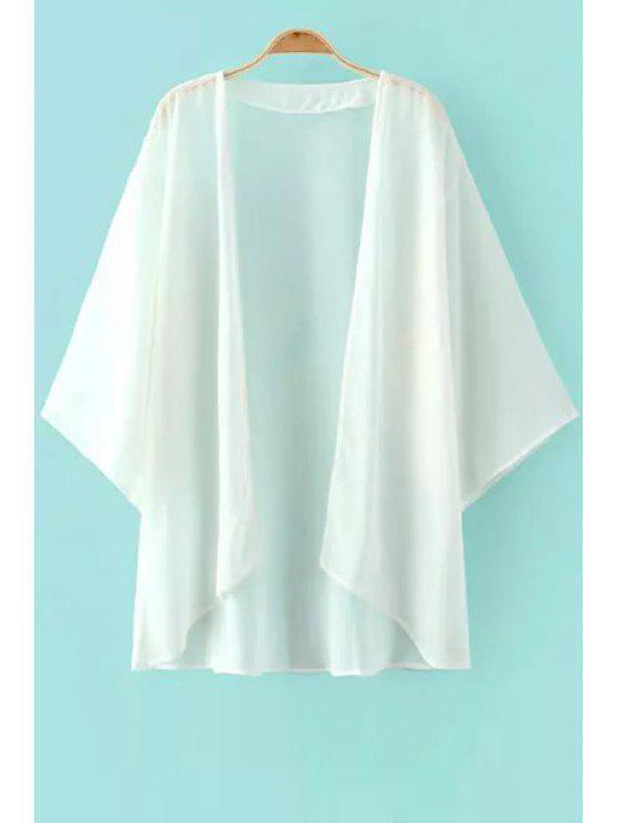 shops Solid Color Asymmetrical 3/4 Sleeve Blouse - WHITE S