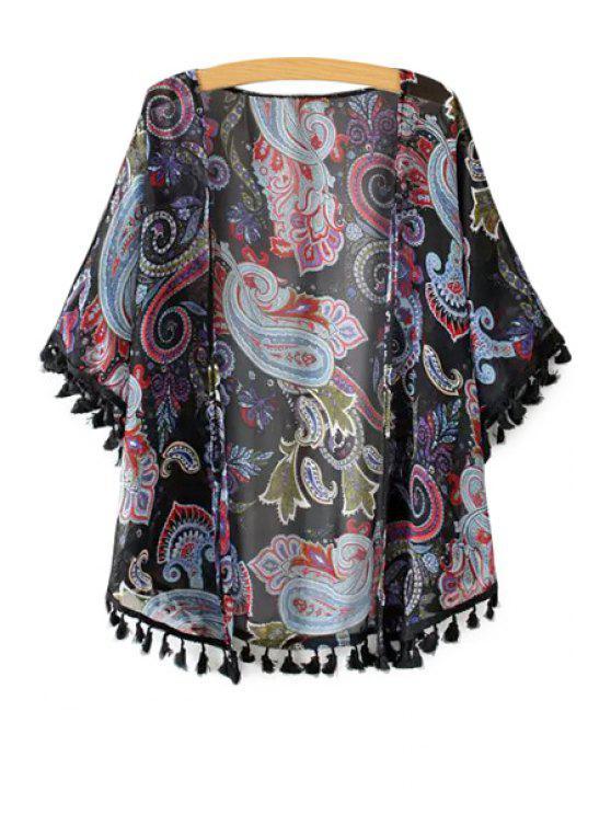 new Paisley Print Tassel Splicing Half Sleeve Kimono - BLACK ONE SIZE(FIT SIZE XS TO M)