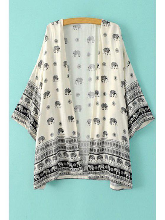buy Collarless Elephant Print Long Sleeve Kimono - WHITE S