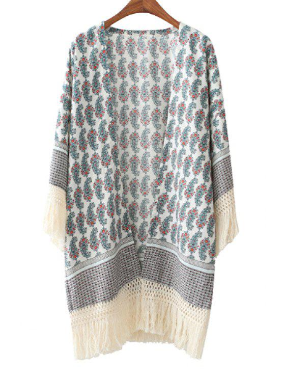 outfits Paisley Print Long Sleeve Kimono - AS THE PICTURE S