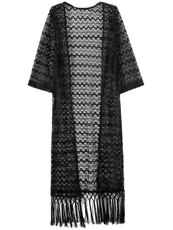 shops Black Lace 3/4 Sleeve Kimono Blouse - BLACK S