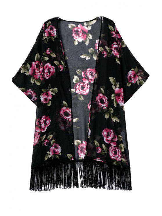 latest Floral Tassels 3/4 Sleeve Kimono Blouse - BLACK S