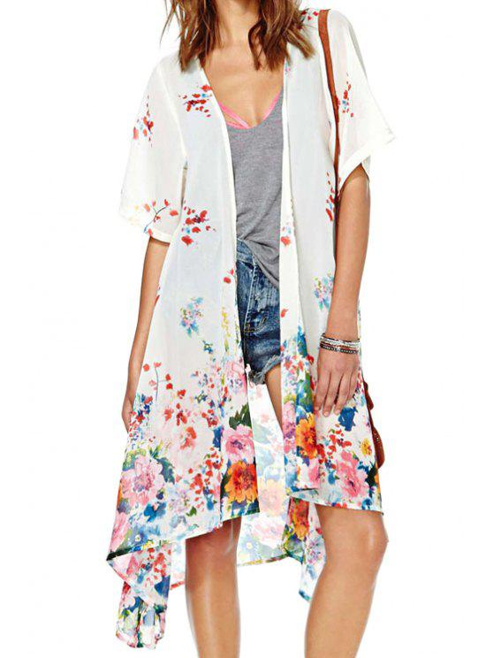 new Colorful Floral Short Sleeve Kimono - WHITE S