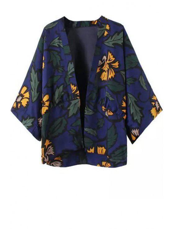 fashion Floral Leaves Print Long Sleeve Kimono - PURPLISH BLUE S