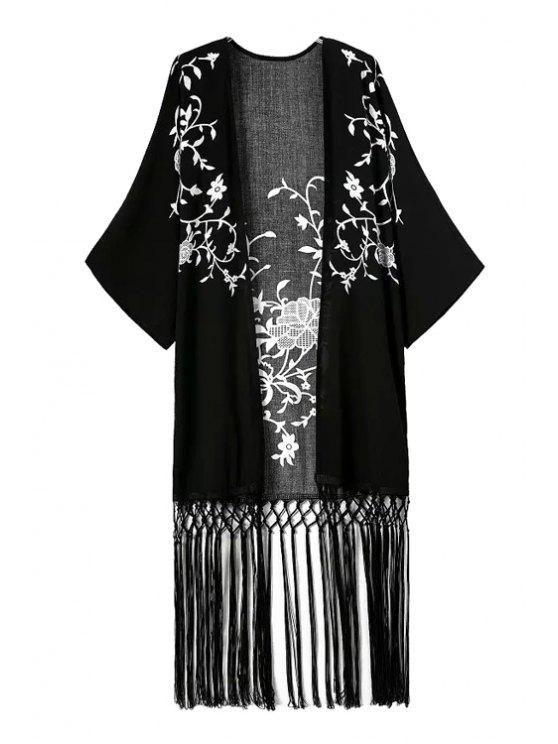 latest White Floral Print Tassel Splicing Kimono - BLACK S