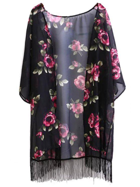 hot Floral Print Fringe Collarless Half Sleeve Kimono - BLACK L
