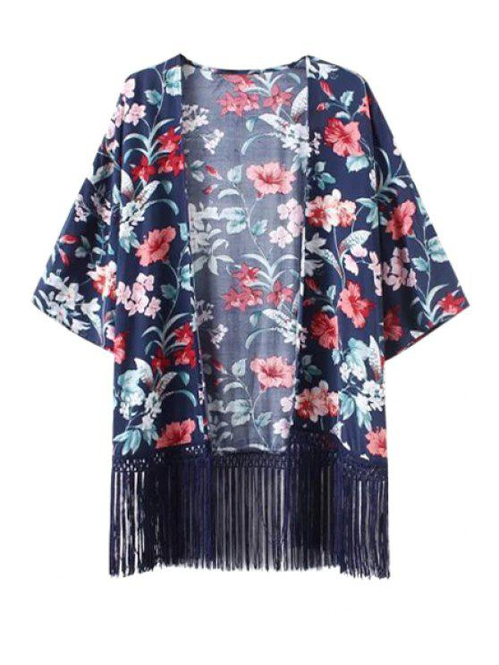 outfits Floral Print Fringe Spliced Kimono Blouse - BLUE S
