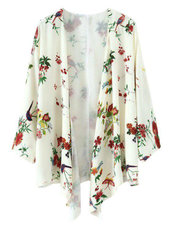 sale Bird Floral Print Long Sleeve Kimono - WHITE M