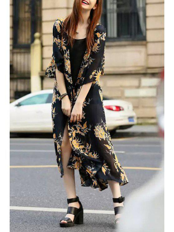 fancy Floral Print Tie-Up Half Sleeve Kimono Dress - BLACK S