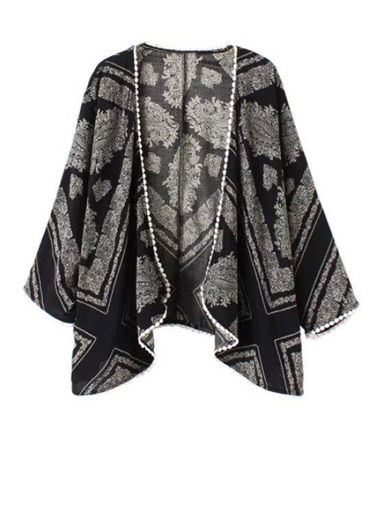 women's Floral Print Lace Edging Long Sleeve Kimono - BLACK S