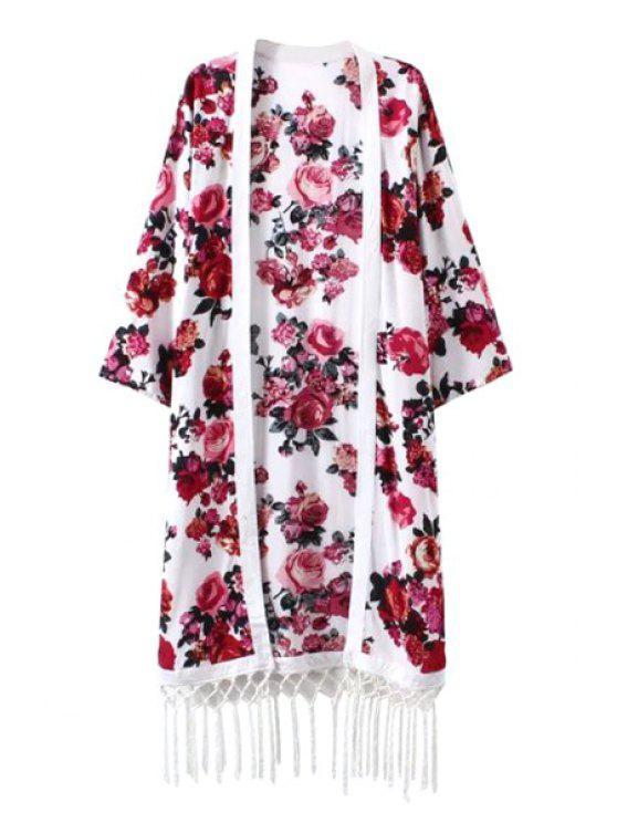 fancy Red Floral Print Fringe 3/4 Sleeve Kimono - WHITE S