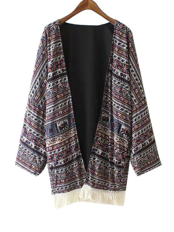 outfits Collarless Tassels Spliced Ethnic Pattern Print Kimono - COLORMIX M