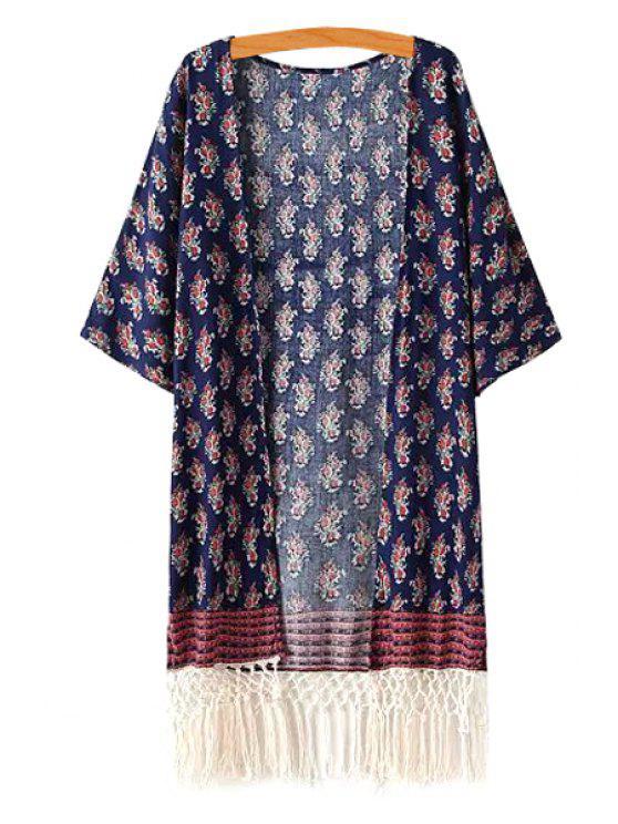 Tiny Floral Print 3/4 Sleeve Kimono - Bleu Cadette Taille Unique(S'adap