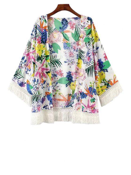 chic Colorful Floral Print Fringe Long Sleeve Kimono - WHITE S