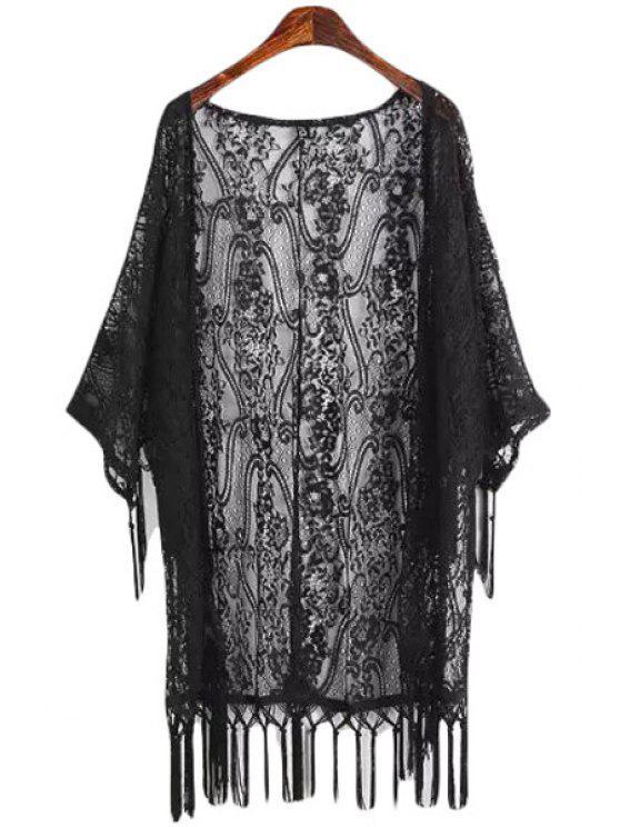 online Lace Tassels 3/4 Sleeve Blouse - BLACK M