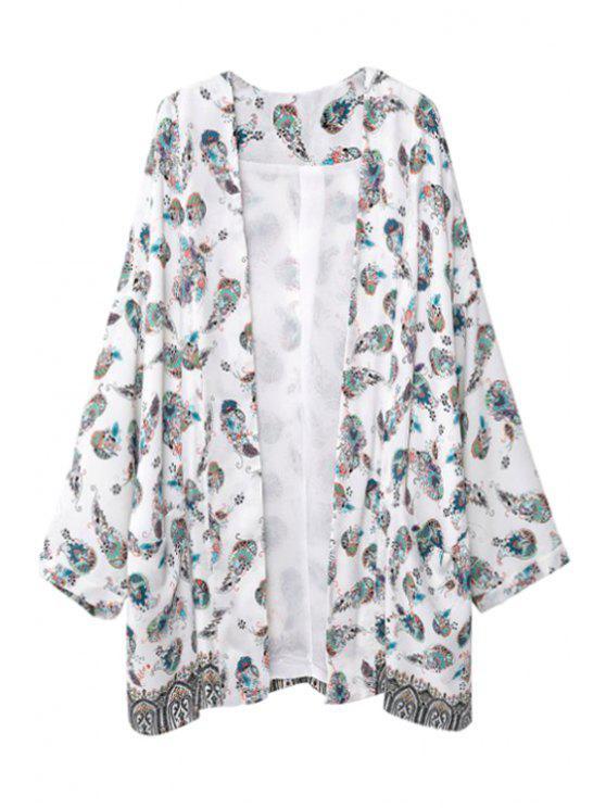 womens Long Sleeve Colorful Floral Print Kimono - WHITE M