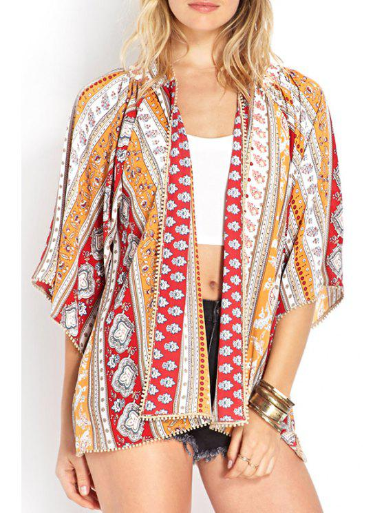 best Color Block Tiny Floral Print 3/4 Sleeve Kimono - AS THE PICTURE S