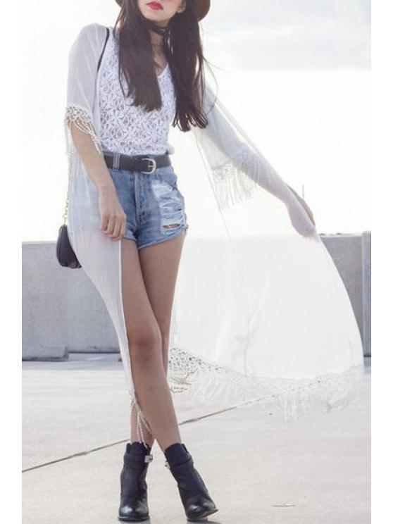 shops Collarless Half Sleeve Fringe Splicing Blouse - WHITE ONE SIZE(FIT SIZE XS TO M)