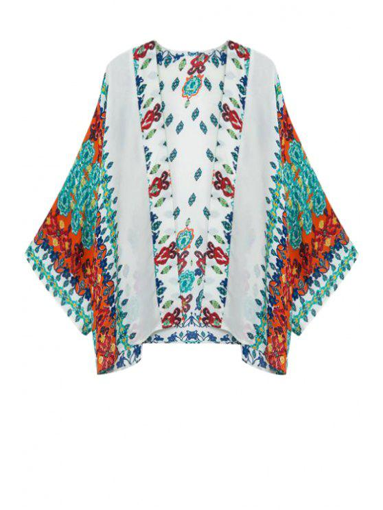 latest Green Red Floral Print Long Sleeve Kimono - TURQUOISE S