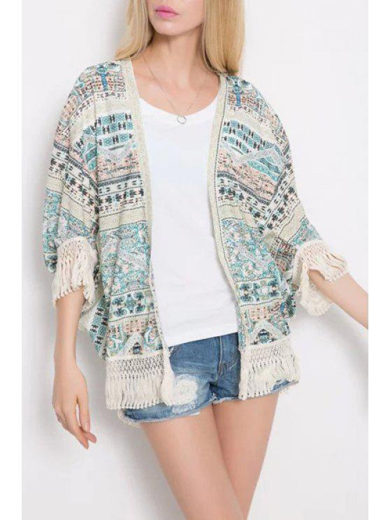 affordable Ethnic Print 3/4 Sleeve Kimono - WHITE AND GREEN M
