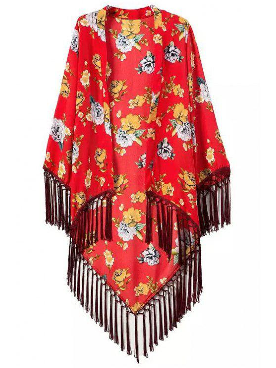 hot Floral Printed Tassel Splicing Long Sleeve Kimono - RED S