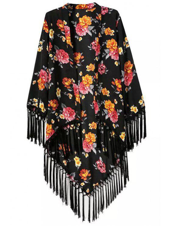 الأزهار المطبوعة شرابة الربط كيمونو كم طويل - أسود S