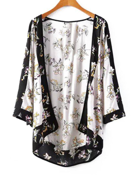 affordable Flowers Print Long Sleeve Kimono - AS THE PICTURE S