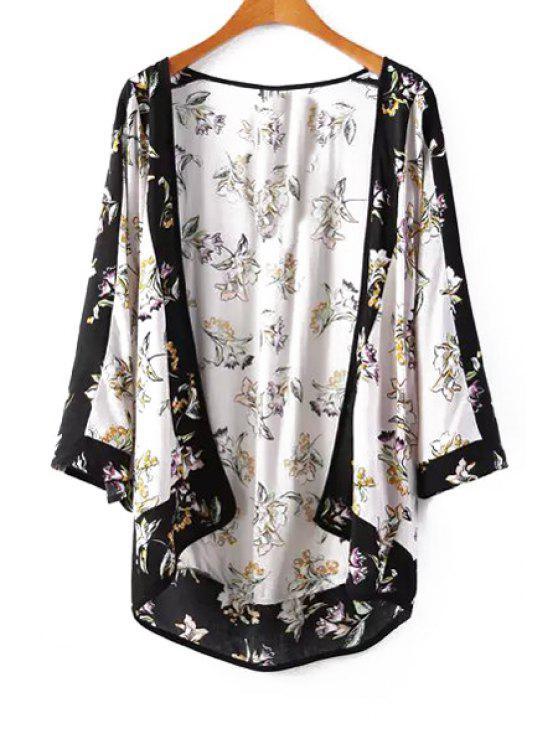 buy Flowers Print Long Sleeve Kimono - WHITE AND BLACK M