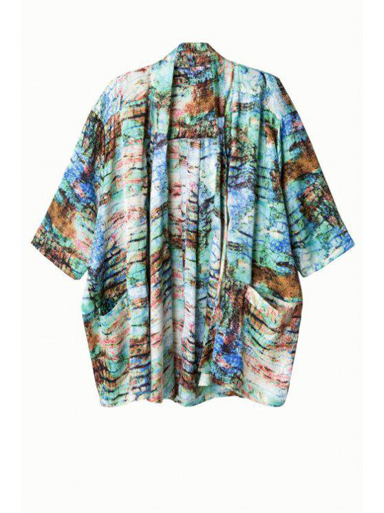 womens Print Collarless Half Sleeve Kimono - GREEN L