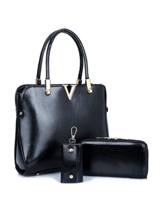 أزياء نمط بلون و تصميم معدني المرأة حمل حقيبة - أسود