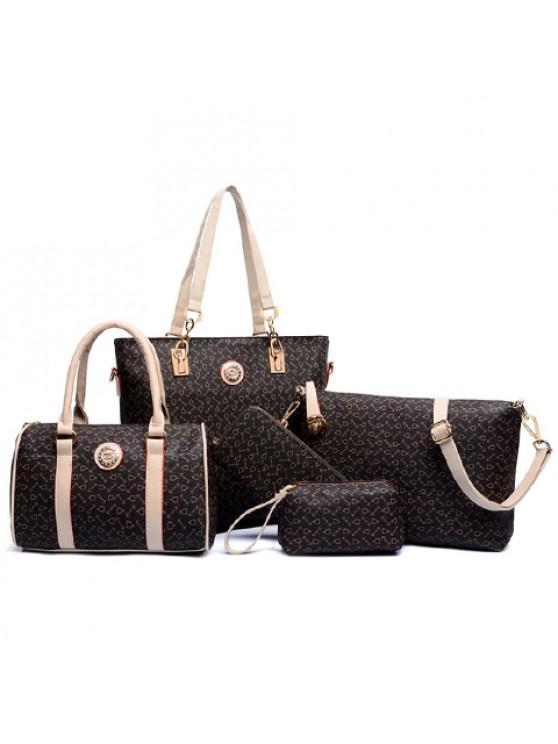 طقم حقيبة كتف من الجلد الاصطناعي مزينة بطبعة - BROWN