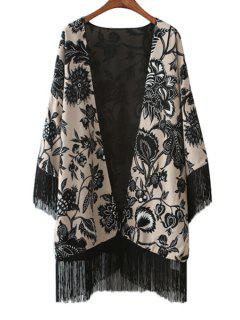 Floral Print Long Sleeve Tassels Blouse - Black L