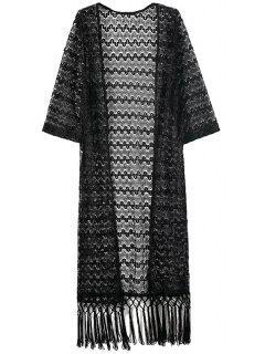 Black Lace 3/4 Sleeve Kimono Blouse - Black L