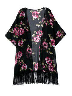 Floral Tassels 3/4 Sleeve Kimono Blouse - Black L
