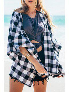Collarless Plaid Loose-Fitting Blouse - White And Black L