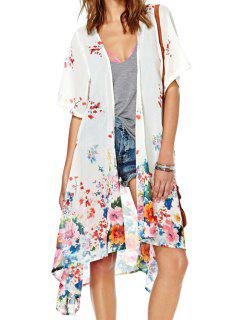 Colorful Floral Short Sleeve Kimono - White 2xl