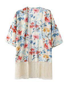 Half Sleeve Fringe Floral Print Kimono - White L