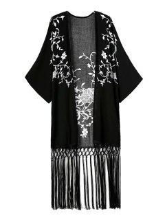 White Floral Print Tassel Splicing Kimono - Black L