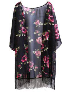 Floral Print Fringe Collarless Half Sleeve Kimono - Black L