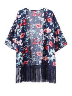 Floral Print Fringe Spliced Kimono Blouse - Blue L