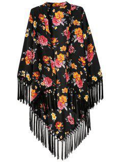Floral Print Asymmetrical Tassel Splicing Long Sleeve Kimono - Black L