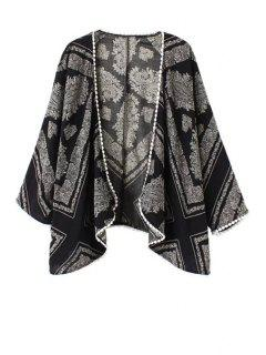 Floral Print Lace Edging Long Sleeve Kimono - Black L
