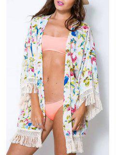 Flower Print Fringe Splicing Chiffon Kimono Blouse - White L