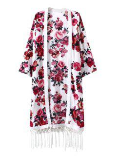 Red Floral Print Fringe 3/4 Sleeve Kimono - White L