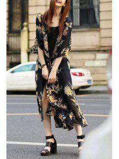 Floral Print Tie-Up Half Sleeve Kimono Dress - Black L