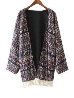 Collarless Tassels Spliced Ethnic Pattern Print Kimono - L