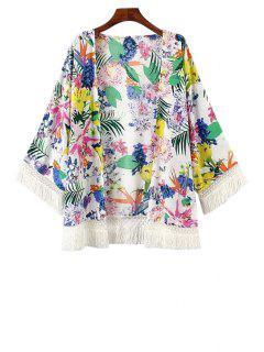 Colorful Floral Print Fringe Long Sleeve Kimono - White L