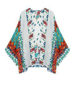 Green Red Floral Print Long Sleeve Kimono - Turquoise L