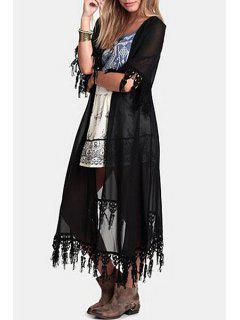 Collarless Half Sleeve Fringe Splicing Blouse - Black