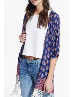 Tiny Floral Print Half Sleeves Kimono - Purplish Blue